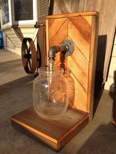 Chevron Bubble Jar Lamp.  Made with a bubble jar, a vintage tube bulb, black pipe and reclaimed wood flooring and barn wood. $160 Loft Furniture, Black Pipe, Hippie Life, Jar Lamp, Wood Flooring, Barn Wood, Repurposed, Sconces, Chevron