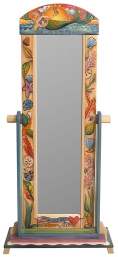 """Wardrobe Mirror on Stand – """"Live Life to the Fullest"""" mirror on stand with mermaid and seashells motif Mirror Painting, Painting Frames, Wooden Furniture, Cool Furniture, Furniture Ideas, Full Mirror, Mirror Mirror, Lace Bedding, Standing Mirror"""