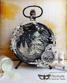 icu ~ Pin on Clocks, Tim Holtz altered ~ Mixed-media art, art journaling and scrapbooking by polish artist and teacher Anna Dabrowska aka Finnabair. Christmas Clock, Christmas Shadow Boxes, Vintage Christmas, Christmas Crafts, Christmas Decorations, Christmas Ornaments, Christmas Fireplace, Christmas 2019, Fun Crafts