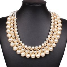 Multi-Fila Torsade de perlas con cuentas babero Gargantilla Collar de la Mujer Elegante