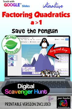 Your students will love this digital scavenger hunt as they climb mountains to save a penguin by factoring quadratics. #distancelearningtpt