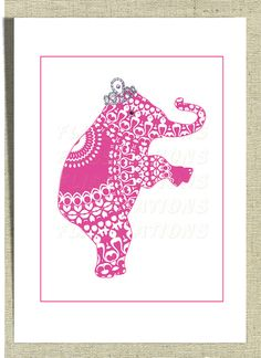 Nursery  Decor Cute Princess Elephant Art Picture by Flissitations, £13.50  That would be perfect!!