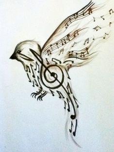 Diseño para tatuaje de un pájaro y notas musicales. El cuerpo del ave está conformade por la clave de sol,mientras que las alas y cola están hechas de corc