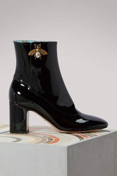 Gucci Patent leather ankle boots with bee  #Gucci #boots #ShopStyle #MyShopStyle click link for more information