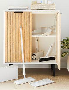 storage + organization Bathroom Furniture, Kids Furniture, Muji Home, Broom And Dustpan, Home Office Accessories, Oversized Furniture, Telescopic Pole, Oak Shelves, Maximize Space