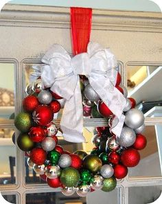 Homemade Ornament Wreath - can be made for different holidays using different colors.. like Easter!