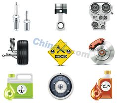 Auto parts icon vector material download