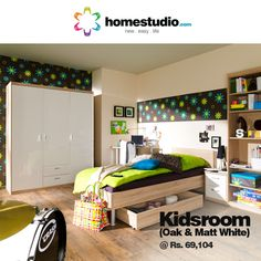 This Kids room features: Single bed small with a under bed drawer, Nightstand, Hinged wardrobe with external drawer, Shelving unit and a Desk. All co ordinated in oak & white matt finish. A perfect example of a study cum fun room.  Lot of storage, suitable for any age group #Homestudio #KidsRoomSolution #KidsRoomFurniture