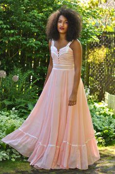 Vtg 70s Peachy Pink Gunne Sax Maxi Dress XS by urbanxchange, $60.00