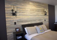 DIY in 1 day Pallet Wall / Plank Wall. Master Bedroom. Marlowe-Lane.com