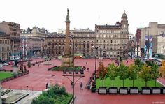 George Square after they chopped the trees down,this place sits in the centre of Glasgow and was seen in the movie,World War Z. Sir Walter Scott adorns the top of the monument at the centre.