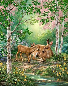 Cute little Doe and Fawn painting I just created :)