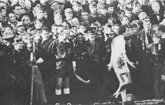8th March 1969. Leicester City winger Len Glover pleads with the referee to move Mansfield Town fans who were stopping from taking a corner in an FA Cup Quarter Final.