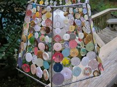 Button Lampshade-cute for a girl's room or sewing/craft room. :)