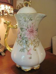 Measures 9 inches X 5 inches. Hand painted with pink flowers and gold gilding. Some wear on the gilding which is expected for the age of thi Chocolate Pots, Chocolate Coffee, Vintage Dishes, Vintage China, China Tea Sets, Tea Pot Set, Tea Art, Gold Gilding, Coffee Set