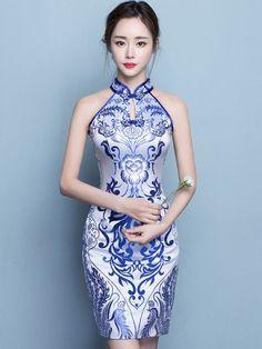 Halter Qipao / Cheongsam Dress in Blue and White Pattern - CozyLadyWear Cheongsam Modern, Cheongsam Wedding, Cheongsam Dress, Oriental Dress, Chinese Clothing, Chinese Dresses, Models, Beautiful Asian Women, Ao Dai