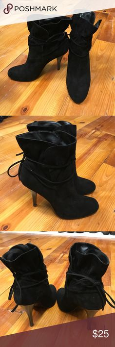 Black Ankle Boots Calvin Klein, Suede black Ankle Boots, size 7.5, 4 inch heel Calvin Klein Shoes Ankle Boots & Booties