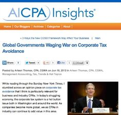 What is a CPA's social responsibility as key advisor to organizations who avoid corporate taxes? #CPA