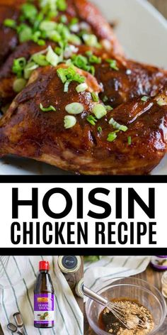 This easy, delicious hoisin chicken recipe is the best in Asian inspired cuisine! The chicken is so moist, juicy and will leave your house smelling amazing. This is an easy to make recipe perfect for any weeknight dinner! Hoisin Chicken Melissa's S Hoison Sauce Recipe, Recipe Using Hoisin Sauce, Chicken Hoisin Sauce, Hoisin Chicken Thighs Recipe, Sauce Hoisin, Entree Recipes, Sauce Recipes, Asian Recipes, Chicken Recipes
