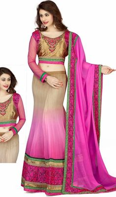 This Beige & Pink Faux Georgette Lehnga Choli Is Adding The Appealing Glamorous Displaying The Sense Of Cute And Graceful. You Could See Some Intriguing Patterns  Performed With Lace|Resham Work. #LovelyPinkFishCutLeengaCholi