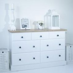 Cape Cod Large White Chest of drawers with Ash Top