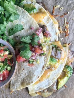 E: Just a reminder to make quesadillas. Easy to grill pan some chicken and peppers and toppings. Steak Quesadillas
