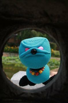 Blue  Mister Dog / Soft and cuddling lovely sock dog /   sock  doll  /   animal  doll