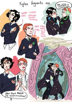 kylorage:  so officialoscarisaaccame up with some adorable kylux hp au headcannons, and i couldn't resist drawing some of them (i included some of my own as well) !! here is the original post: LINK this is not the last you'll see of this au, i rlly want to make a comic abt this bye
