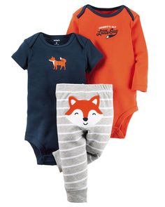 Featuring a cute little fox on the bottom and two coordinating bodysuits, this babysoft cotton set lets him mix and match with essential pants.