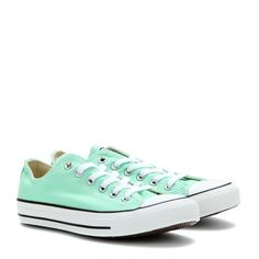 Converse Chuck Taylor All Star Low Sneakers ($54) ❤ liked on Polyvore featuring shoes, sneakers, converse, zapatos, sapatos, mint sneakers, mint green sneakers, converse trainers, converse footwear and mint shoes