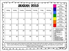 behavior sheet with colors...match to sticks, or behavior board