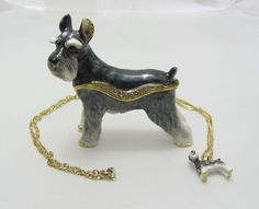 Trinket Box Gift Swarovski Crystals Adorable Gray Schnauzer Dog Animal Necklace