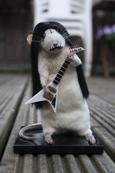 Anthropomorphic Taxidermy Rat. Black Metal. Corpse Paint. Goth. Guitar. Ornament. Oddity. Curio. Dolls house. Gift on Etsy, £45.00
