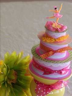 Idea for empty ribbon spools!!!!  This would be great for a pretend cake for my little girl to play with
