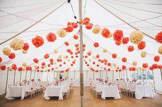 Marquee Pom Poms Romantic Secret Garden Coral Pole Tent Wedding http://www.emmacleveley.co.uk/