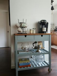 38 Gorgeous Small Kitchen Bar Design Ideas For Apartment Decor - When you have a small kitchen, you're going to want to make the most of its space. A good way to do this is by investing in some small kitchen furnitu. Small Kitchen Cart, Coffee Bars In Kitchen, Coffee Bar Home, Home Coffee Stations, Kitchen Ideas, Kitchen Carts On Wheels, Coffe Bar, Kitchen Island Cart, Ikea Kitchen Cart