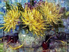 """Mums, Cherries and great App."" - Original Fine Art for Sale - © Julie Ford Oliver"