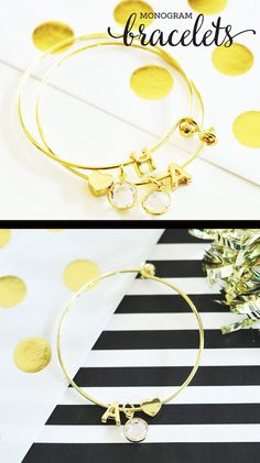 Monogram Bracelets are a unique gift idea for her birthday or graduation - perfect gift for a best friend, sister or mom!  by Mod Party