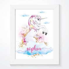 A stunning personalised girls nursery print.  Our popular unicorn print is gorgeously illustrated using a watercolour style, with clouds and gold glitter to add that sparkle to any little girls bedroom.  Look out for the same range - https://www.etsy.com/uk/listing/506556465/set-of-2-prints-princess-castle-print?ref=shop_home_active_1  This is the perfect welcome gift for any newborn, baby shower, christening or naming ceremony. --------------------------  ...