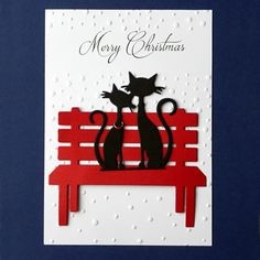 Merry Christmas & Die Cut French Cats on a Garden Bench - 3 Card Toppers