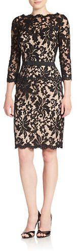 Tadashi Shoji Belted Lace Sheath Dress