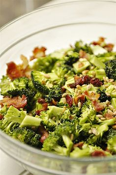 We love broccoli salad... I am going to try to tweak mine with the lighter dressing in this recipe. I also use turkey bacon. Make sure to add this right before serving!