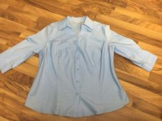 Womens Plus Size 1X WORTHINGTON Stretch Solid Light Blue Button Up Shirt Top  | eBay