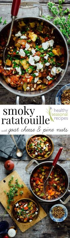 Blog post at Healthy Seasonal Recipes : Here's an easy 25 minute recipe for smoky ratatouille with goat cheese and pine nuts. Ratatouille is a simple French vegetable sauté, ma[..] (Low Carb Vegetables Cheese)