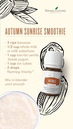 Nutmeg Vitality Start your morning off right with an autumn sunrise smoothie! With bananas, milk, Greek yogurt, and Nutmeg Vitality essential oil, you'll be able to experience your favorite holiday without hurting your healthy lifestyle. Young Living Oils, Young Living Essential Oils, Young Living Vitality, Cooking With Essential Oils, Raspberry Smoothie, Living Essentials, Exotic Food, Clean Eating Snacks, Greek Yogurt
