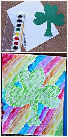 Crayon Resist St. Patrick's Day Craft for Kids! Shamrocks and rainbows | CraftyMorning.com