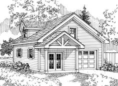 Garage Plan 20-024 - This Craftsman garage plan can house 1 car, though has lots of additional work and storage space. The door of the garage is 10' wide and 8' tall. On the left side of the garage is a wood shop with a large storage closet in the rear, and a bonus room on the second floor.
