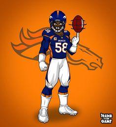 Denver Broncos Football, Football Art, Football Players, Funny Football Memes, Sports Drawings, Football Wallpaper, Sports Art, Caricatures, Cartoons