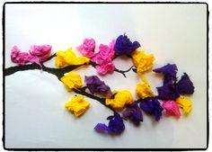 branche d'arbre printanière, bricolage printemps, fleurs, bourgeons, activité enfant
