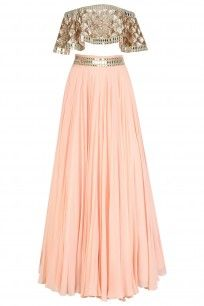 Pastel Pink Embroidered off Shoulder Blouse and Lehenga Skirt Set